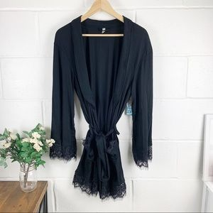 FREE PEOPLE Sweetest Thing Black Lace Robe SZ L